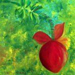 нарисованный маслом цветок банана