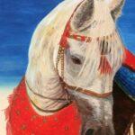 Портрет лошади на холсте